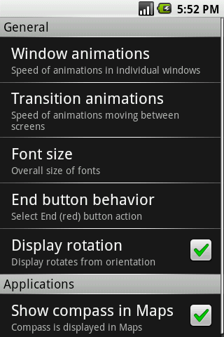 cupcake android settings