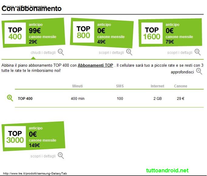 Galaxy tab, le offerte di Wind, Tim, Vodafone, tre | TuttoAndroid