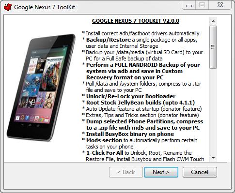 Nexus 7 ToolKit v2.0.0: Root, CWM, Driver, sblocco ...