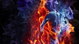 love-kiss-man-woman-silhouette-fire-smoke-opposites-combine-ice-good-bad3d