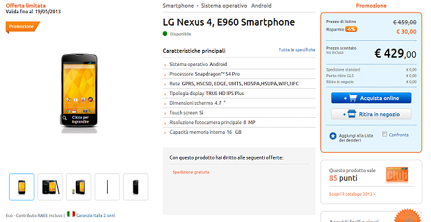 Nexus 4 429 euro