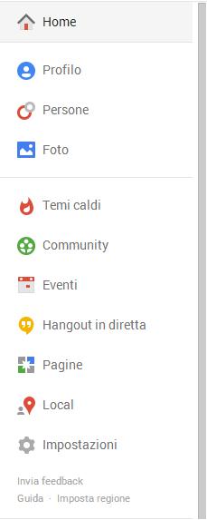 barra laterale google+