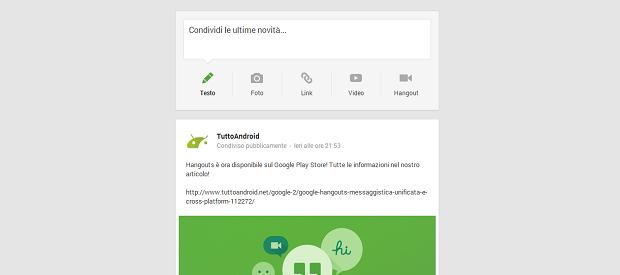 google+ nuovo layout tuttoandroid