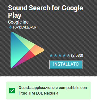 google sound search dopo