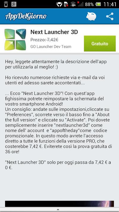 Next launcher 3D App del Giorno