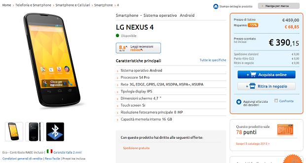 Nexus 4 Offerta, Promozione, Marco Polo, 390 euro
