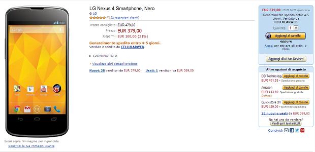 Nexus 4, offerte, promozioni, prezzo più basso