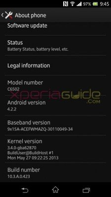 Xperia+ZL+C6503+Android+4.2.2+Jelly+Bean+10.3.A.0.423+firmware+Details