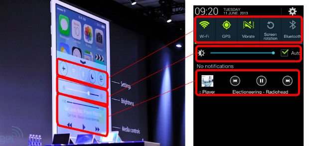 differenze ios 7 android 4