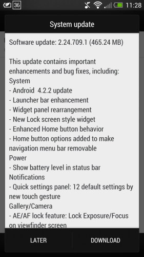 HTC One OTA Android 4.2.2