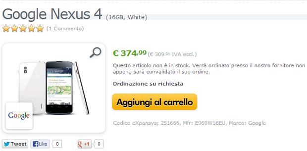 Nexus 4 Bianco Italia