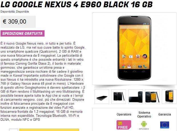 Nexus 4 Prezzo