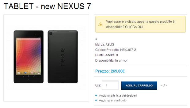 Nuovo Nexus 7 Italia