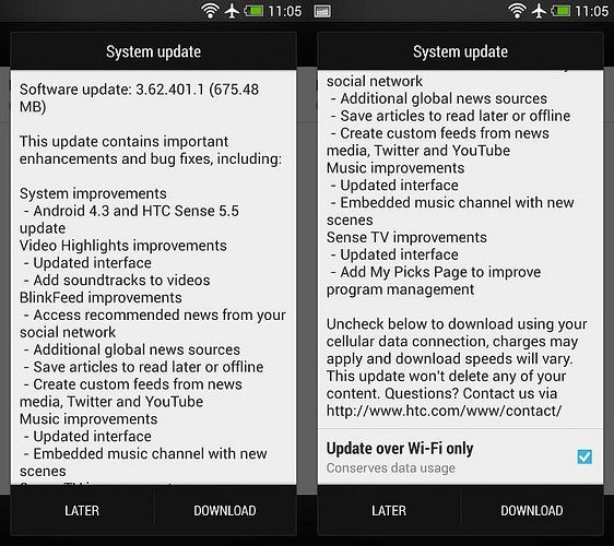 Android 4.3 Sense 5.5 HTC One