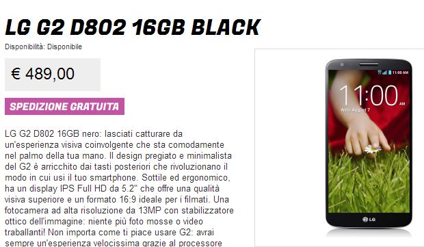 LG G2 Prezzo Italia Offerta Promozione