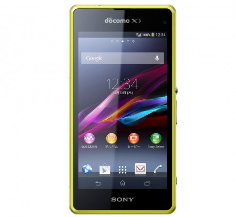 The-Sony-Xperia-Z1F-a-4.3-handset-for-Japan-notice-the-front-camera-is-on-the-right-and-the-prominent-DoCoMo-logo.