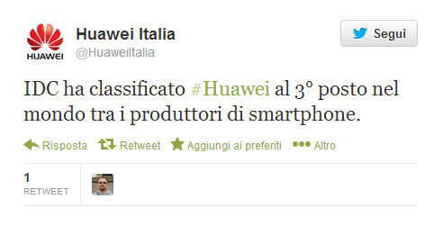 huawei tweet terzo posto