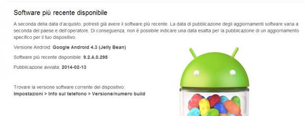 xperia t e v aggiornamento android 4.3