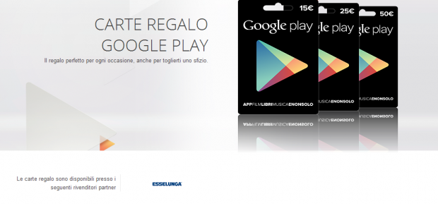 carte regalo google play esselunga