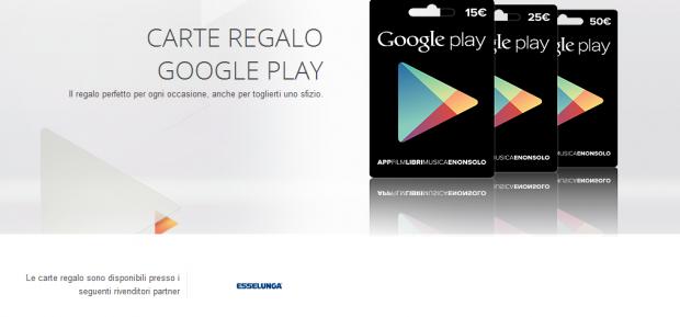 carte regalo google play esselunga