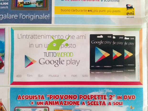 google play gift card tuttoandroid