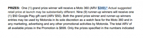 moto prize value