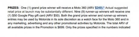 moto prize value