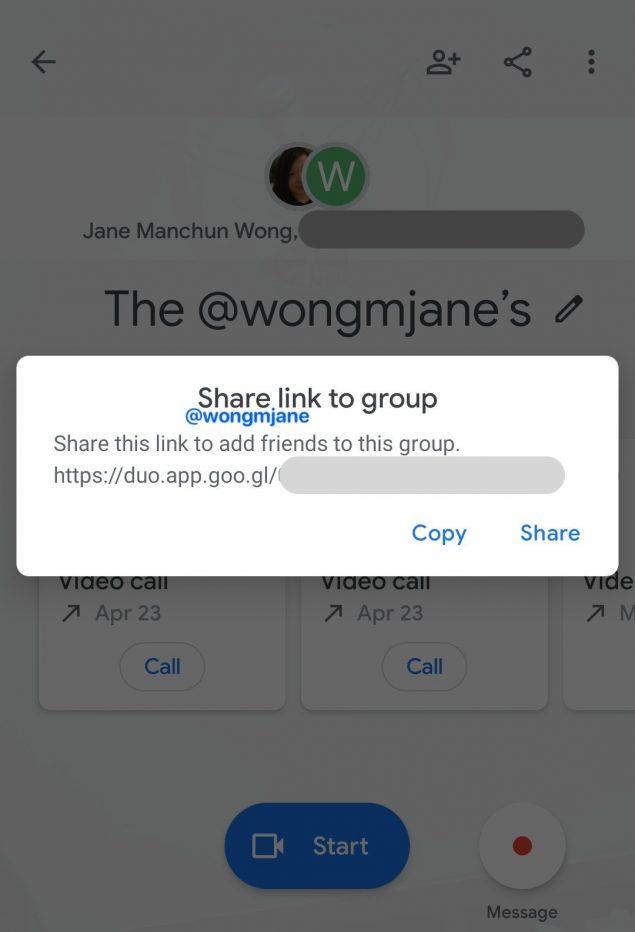 google duo link invito condivisione