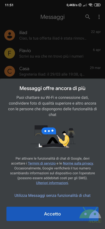 Google Messaggi RCS