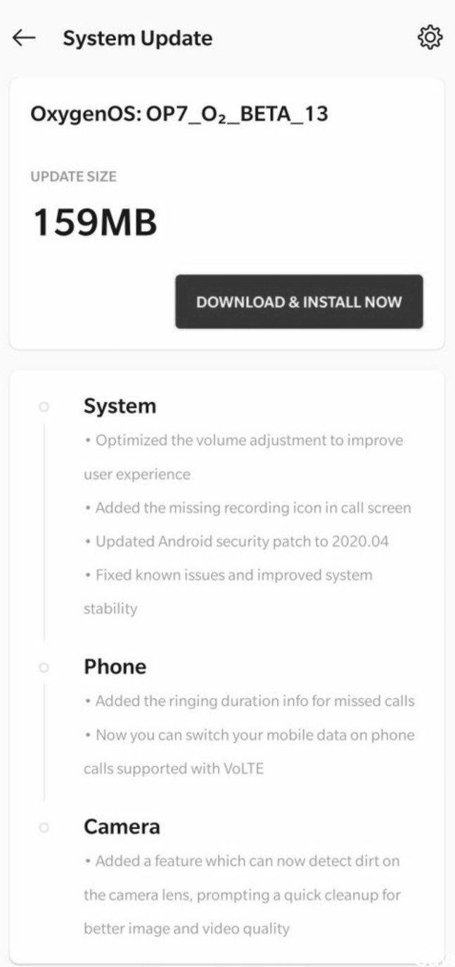 OnePlus 7 aggiornamento OxygenOS Open Beta 13