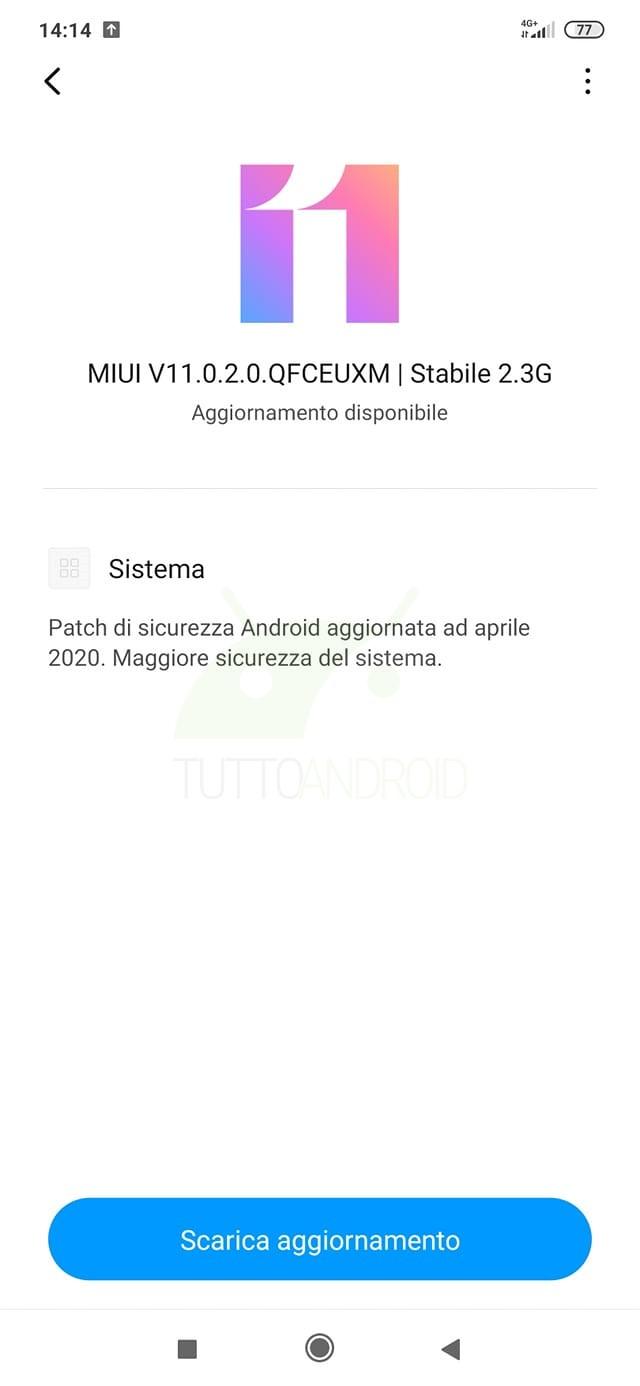 Xiaomi Mi 9 Lite aggiornamento patch di sicurezza aprile 2020