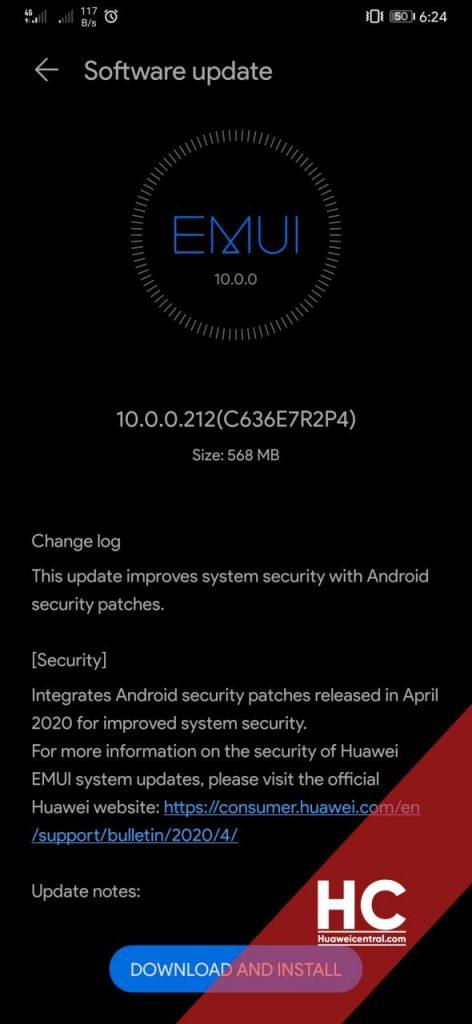 aggiornamento Huawei Mate 20 Pro patch aprile 2020