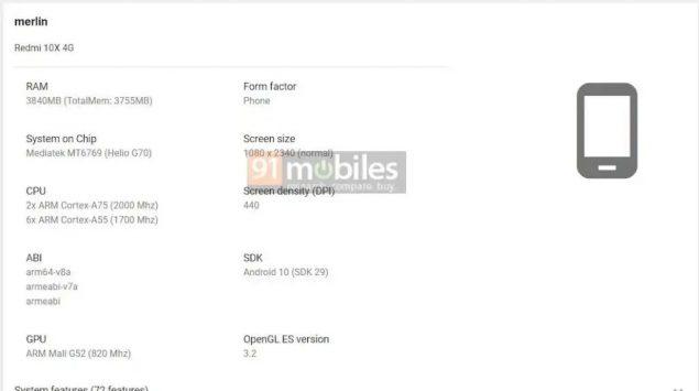redmi 10x google play console 9 specifiche leak