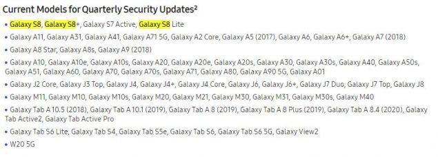 samsung galaxy s8 plus aggiornamenti sicurezza trimestrali
